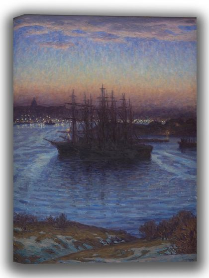 Prince Eugén, Duke of Närke: Ships at Anchor, Winter. Fine Art Canvas. Sizes: A4/A3/A2/A1 (0059)